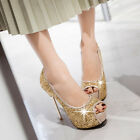 Women's Bling Bling Peep Toe Platform High Heel Pumps Stilettos Dress Sandals Sz