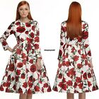 Women Long Sleeve Vintage 50's Floral Spring casual Cocktail party Dress o-neck