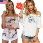 Fashion Women Floral Off Shoulder Blouse Summer Casual Loose Ladies Tops T Shirt