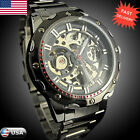 Hot Pierced Stainless Steel Waterproof Automatic Mechanical Mens Wrist Watch US