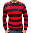 MENS BLACK/RED KNITTED RETRO VINTAGE JUMPER SWEATER KNIT CREW SMALL STRIPED