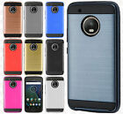 For Motorola Moto G5 PLUS Brushed Metal HYBRID Rubber Case Phone Cover Accessory