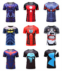 Mens T-shirt Compression Top Superhero Avengers Costume Marvel Muscle Spiderman