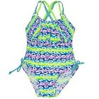 2B Real Big Girls Blue Lime Diffuse Stripe Spot One Piece Swimsuit 7-16