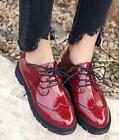 2017 Retro Womens Round Toe Patent Leather Brogue Lace Up Flats Shoes Size