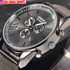 US Men's Multifunction Day Date Analog Quartz Stainless Steel Mesh Wrist Watch