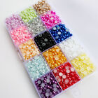 1 Box 15 Colors Half Pearl Bead From 3mm to 6mm Flat Back Gem Craft DIY Beads