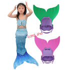 Kids Girls Mermaid Tail 3PS Suit With Monofin Children Swimmable Swimsuit Dress