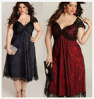 Ladies Long Lace Dress GOTHIC Women Lace Plus Size Cosplay Party Dresses Red BK