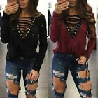 Fashion Womens Lace-up Long Sleeve Shirt Casual Blouse Loose Cotton Tops T Shirt