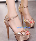 Fashion Women Ankle Strappy Peep Toe Stilettos Platform Shoes Pumps Party 2017