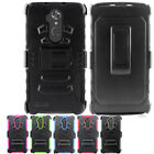For ZTE Max XL Combo Holster HYBRID KICK STAND Hard Rubber Case +Screen Guard