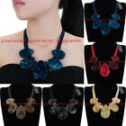 Fashion Leather Rope Chain Resin Collar Choker Statement Pendant Bib Necklace