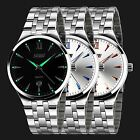 Luxury Men's Analog Quartz Watch Luminous Dial Stainless Steel Dress Waterproof