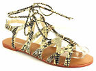 New Ladies/Womens Pewter Snake Print London Rebel Gladiator Sandals UK SIZES
