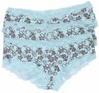 Ladies Short Style Briefs Pack Of Three Pretty Lace Trimmed Floral  Sizes 10-18