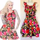 VOODOO VIXEN BLACK TIKI FLORAL DRESS ROCKABILLY PINUP S M L NWT