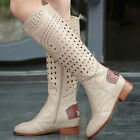 Retro Women Hollow Out Side Zip Low Chunky Heels Roman Knee High Boots Shoes