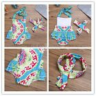 Newborn Infant Baby Girl Floral Romper Bodysuit Jumpsuit Outfits Headband 0-12 M