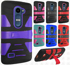 For LG Sunset L33L Hard Gel Rubber KICKSTAND Case Phone Protector Cover