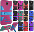 For Cricket ZTE Sonata 3 Hard Gel Rubber KICKSTAND Case Phone Protector Cover