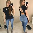 New Fashion Women Casual O-Neck Short Sleeve Solid Back Split Pullover Sexy N4U8