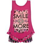 "Dollhouse Little Girls Fuchsia ""Smile More"" Tassel 2 Pc Shorts Outfit 2T-6X"
