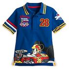 """DISNEY STORE MICKEY MOUSE """"ROADSTER READY"""" POLO SHIRT COOL GRAPHICS FRONT BACK"""