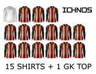 ICHNOS RED BLACK STRIPES ADULT TEAM KIT FOOTBALL SHIRTS (15 PLAYERS + 1 GK TOP)