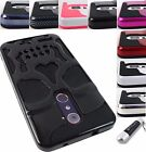 ZTE PHONE MODELS SKELETON SKULL DUAL LAYER HYBRID CASE RUGGED COVER+STYLUS/PEN