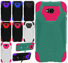 For LG Fiesta L64VL Turbo Layer HYBRID KICKSTAND Rubber Case Phone Cover