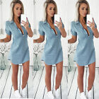 Fashion Womens Short Sleeve Turn Down Collar Denim Mini Dress Summer Long Tops