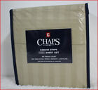 "Chaps 100% PIMA Cotton Sheet Set - 500 tc 18"" Deep Wrinkle Resistan KHAKI Damask"