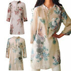 Fashion Vintage Women Floral Printed Casual Loose Tops Shirt Tunic Dress Kaftan