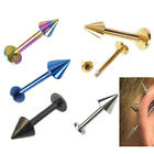 10Pcs Punk 16G Stainless Steel Labret Lip Rings Spike Studs Piercing Bars Cool