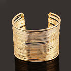 Fashion Women Multilayer Metal Wires Strings Open Bangle Wide Cuff Bracelet Cool