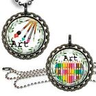 For the Love of Art Bottle Cap Necklace & Chain Handcrafted Teacher Gift Jewelry