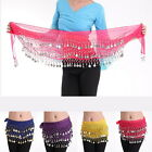 Thboxs Belly Dance Hip Scarf 3 Rows 128 Coin Belt Wrap Chain Dancing Costume