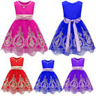 Toddler Kids Flower Girl Bow Princess Dress Embroidery Prom Formal Party Dresses