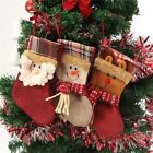 New Year Vintage Christmas Stocking Snowman Plaid Bag Gift Sock Ornament Socks S