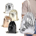 Metallic Backpack Sports Beach Holiday Gym Bag Travel Shopping 5 Colours