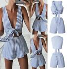 UK Sexy Womensl Casual Stripe Beach Mini Dress Summer Sundress Top & Bottom Set