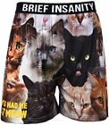 "Brief Insanity Men's Boxer Shorts Cat Print You Had Me At Meow Underwear  ""SALE"""