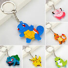 SM Pikachu Pokemon Double Sided Rubber Keychains Anime Metal Key Chains New