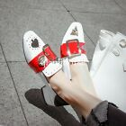 British womens square toe slip on block mid heel buckle color stitching shoes SZ