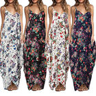 PLUS SIZE UK Womens Sleeveless Strappy Floral Beach Long Dress Dresses Sundress