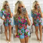 UK Sexy Womens V-Neck Floral Mini Dress Playsuit Jumpsuit Jumpwear Hot Sundress