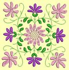 Anemone Quilt Squares 1- DESIGN 5- Anemone Machine Embroidery Singles In 4 Sizes