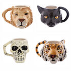 Animal Head / Skull Ceramic Shaped Mug - Lion, Tiger, Black Cat, Ancient Skull