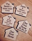PERSONALISED WOODEN FRIDGE MAGNET GIFT BIRTHDAY HOUSE FIRST HOME SWEET HOME
